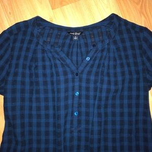 Lucky Brand Tops - Lucky Brand indigo plaid tunic